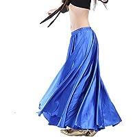 Calcifer - Falda para danza, satén, larga, con vuelo, para danza del vientre, para disfraz, para mujer, para profesionales, azul