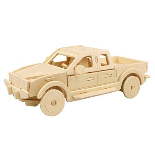 TOYMYTOY 3D Holzbausatz Holzpuzzle Kinder Modellbau Holz Auto Wagen Bausatz zum Zusammenstecken Pädagogisches Spielzeug Geschenk (Pickup Truck) - Spielzeug Pick-up