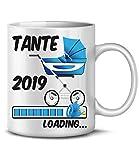Golebros Geschenk für werdende - Tante 2019 Loading 6227 Schwangerschaft Geburt Baby Junge Babyparty Tasse Becher Kaffeetasse Geschirr deko Weiss AD Blau