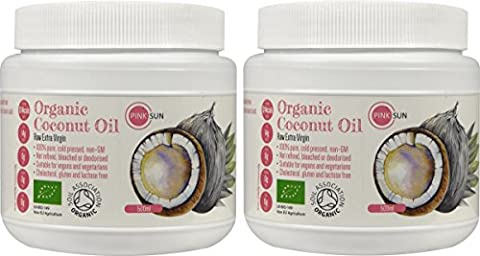 PINK SUN Organic Extra Virgin Coconut Oil Raw 1 litre (500ml x 2) - Cold Pressed Pure Unrefined 1L Hair Skin Cooking Baby Bulk Buy