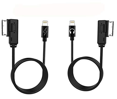 AUX & Power Cable Kit, Music Cord Interface Adapter kompatibel für iPX Xs Max XR X 8 7 Plus für ausgewählte Mercedes Benz - Power Cord Kit