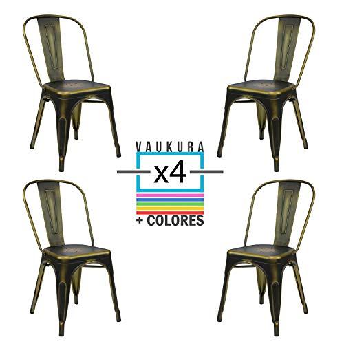 Vaukura Silla Tolix(Pack 4) - Silla Industrial Metálica Vintage (Cobre)
