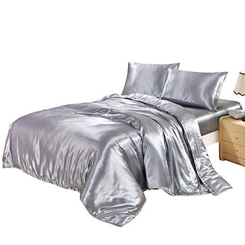ClothHouse Weiß Schwarz Bettwäsche-Sets König Double Size Satin Silk Sommer Verwendet Einzelbett Bettwäsche China Bettwäsche Kit Bettbezug Set,1,King (Bettwäsche Weiße König Schwarz)