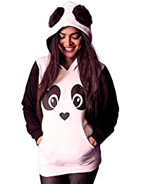 INDIRAGE Panda Hoodie Cotton All Season Wear with Fur Ears for Girls.