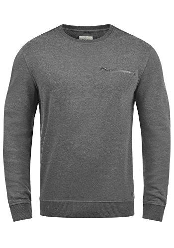 Blend Jesper Herren Sweatshirt Pullover Pulli Mit Rundhalsausschnitt Und Brusttasche, Größe:M, Farbe:Pewter Mix (70817)