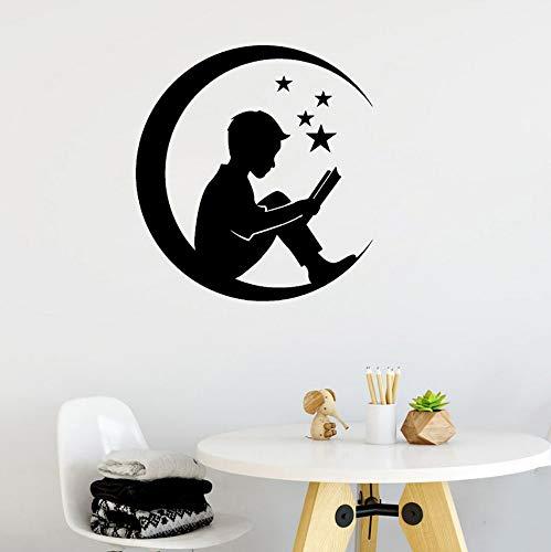 Looyy Stern Moon Boy Mit Märchen Buch Wandaufkleber Für Kinderzimmer Einteiliges Paket Vinyl Childrenl Baby Kinderzimmer Dekor 56 * 61 Cm