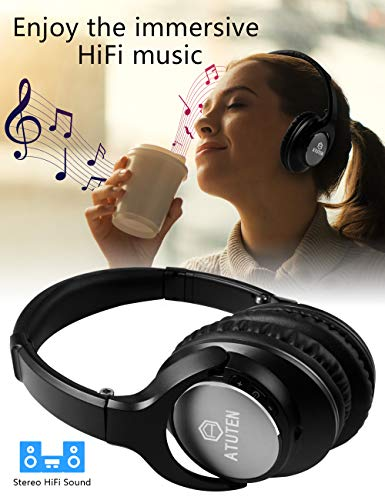 Bluetooth Over-Ear Kopfhörer - Atuten Kabellos Faltbare Ohrhörer Stereo Gaming Headphone mit Mikrofon für Alle Geräte mit Bluetooth/3.5mm Klinkenstecker - Kompatibel mit IOS Android - 3