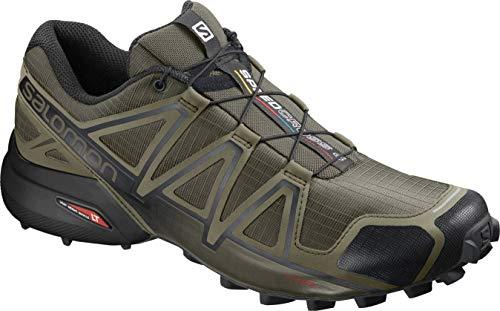 Salomon Speedcross 4 Wide Scarpe da Trail Running Uomo, Verde (Grape Leaf/Burnt Olive/Black) 43 1/3 EU