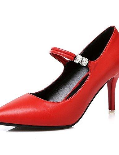 WSS 2016 Chaussures Femme-Mariage / Habillé / Soirée & Evénement-Noir / Rouge / Blanc-Talon Aiguille-Talons / Escarpin Basique / Bout Pointu-Talons black-us6.5-7 / eu37 / uk4.5-5 / cn37