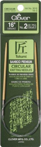 Clover 100% Polyester Takumi Stricknadeln Bambus Rundstricknadeln 16Zoll, Größe 2/2,75mm - Clover-stricknadeln Takumi