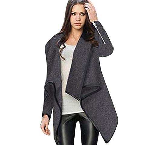 Vovotrade Chic Femme Manteau hiver chaud Veste longue Parka Cardigans (Size:42, Gris)