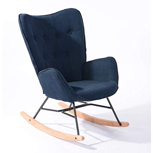 Furnish1 Zeitgenosse Gepolsterter Schaukelstuhl Lounge-Sessel, Metallrahmen und Holzsockel, Dunkelblau