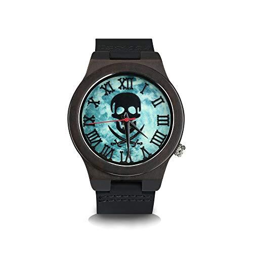 Reloj de Madera de bambú con Correa de Cuero y diseño Colorido de Skull Punk de Intbase Natural para Hombres, Relojes de Pulsera de Cuarzo, artesanías de Madera Hechas a Mano, Negro