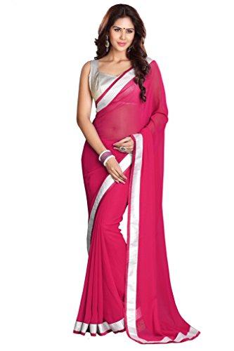 Damen Bollywood Saree mit Ungesteckt Oberteil/Top Mirchi Fashion Gedruckte sari (Bollywood Sari)