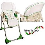 BRUCHINO Italy Copri Seggiolone Pappa Chicco Made in Italy 100% Cotone (Polly Easy) VERDE
