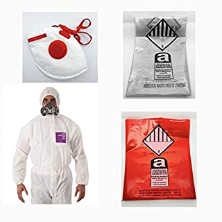 Asbestos Removal Kit - 1 XLarge Coverall, 5 Red & 5 Clear Waste Disposal Bags and 1 Fold Face Valved Mask