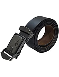 Sunshopping men's black non leather belt with auto lock buckle(Q1301-WR-13)