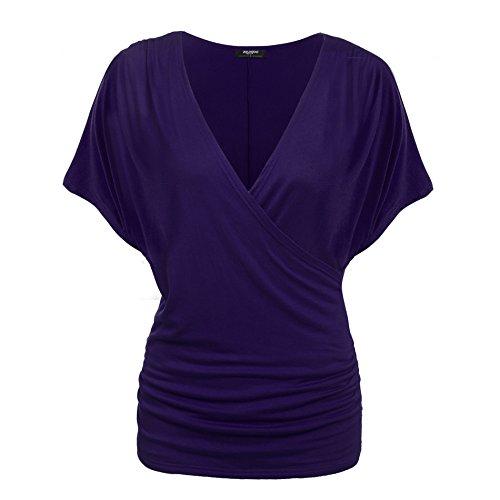 Zeagoo Damen V-Ausschnitt T-shirt Kurzarm Batwing Fledermaus Sommer Shirt Tunika Bluse(EU 38(Herstellergröße:M), Lila