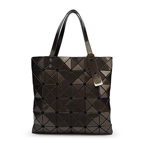 Plaid misto Laomu ologramma geometriche donne split spalla borsetta Sky-Blue Bronze