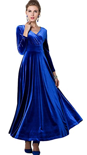 Urbancoco Damen Lange Langarm Abendkleid Maxi V-Ausschnitt Samt Party Kleid Königsblau