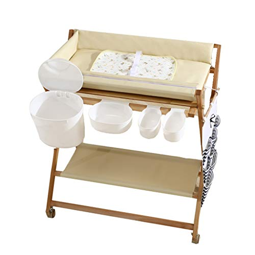 ZQ Wickelaufsatz Wickeltisch für Mädchen für kleine Räume, hölzerne faltende Windelstation auf Rädern für Kind