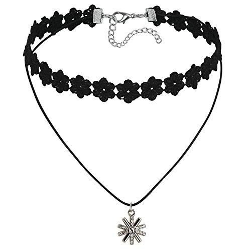 Adisaer Samt Leder Choker Halskette Damen Silber Schwarz Blumen Kette mit Schneeflock CZ Tattoo Kette Länge 31.3+7.8CM Einstellbar Halsketten Gothic