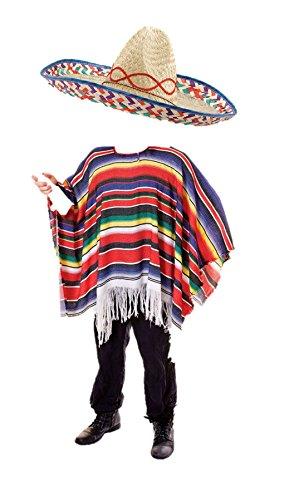 Outfit Kostüm Hirsch - B&N Mexikanischen Fancy Kleid Sombrero Poncho Gringo Bandit Hirsch Party Do Komplettes Outfit Gr. Einheitsgröße, Sombrero & Poncho