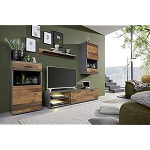 trendteam smart living Wohnzimmer 4-teilige Set Kombination Mango, 246 x 182 x 37 cm Front Old Wood, Korpus und Absetzung Matera mit viel Stauraum