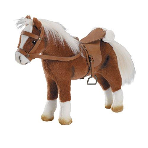 Götz 3401099 Springturniersieger - Pferd mit Sattel und Zaumzeug aus Plüsch - braunes und biegsames Pferd für Kinder ab 3 Jahren