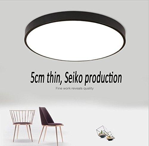 .Deckenleuchte Led-deckenleuchte 6000-6500 Karat Moderne Weiße Runde Leselampe Wohnzimmer Schlafzimmer Deckenleuchte Beleuchtung Energy Star (Color : Black-40cm) -