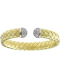 18ct Yellow Gold Braided Cuff Bracelet With Diamonds Basket-weave .69 Dwt