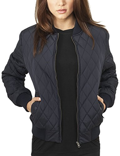 Urban Classics Damen Jacke Ladies Diamond Quilt Nylon Jacket, Blau (Navy 155), 40 (Herstellergröße: L)