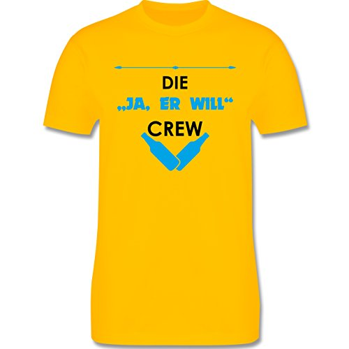 "JGA Junggesellenabschied - Die ""Ja, er will"" Crew - Herren Premium T-Shirt Gelb"