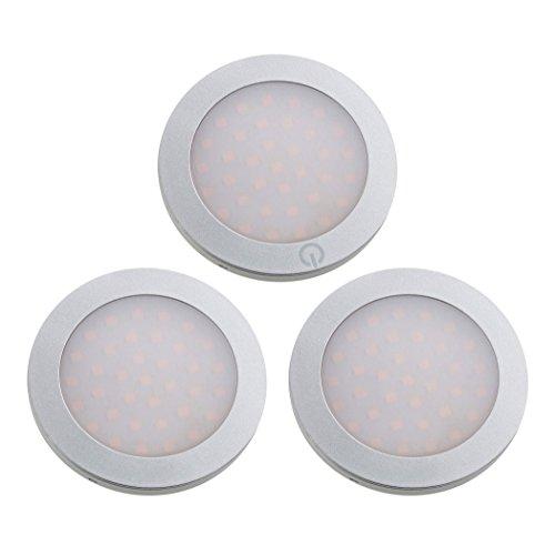 SEBSON LED Schrankleuchte 3er Set, Touchfunktion, warmweiß 3000K, 3x 3W, 210lm, ultra flach 7mm, Aluminium, Unterbauleuchten rund für Küche