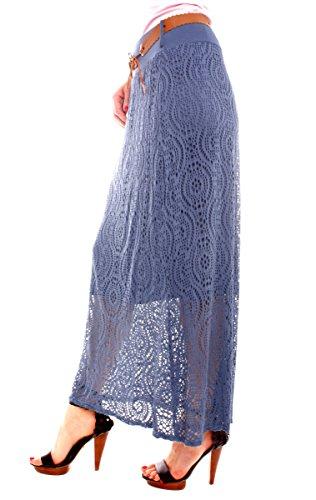 Damen Jersey Netzrock Lang Jeansblau