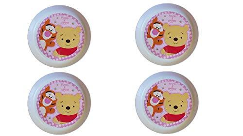ALMACENESADAN 2222, Pack 4 Gerichte für süße tischchen Winnie The Pooh White; ideal für Partys und Geburtstage; Kunststoffprodukt; BPA frei; Durchmesser 18,5 cm