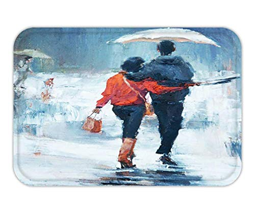 006100caa244 ASKYE Doormat Man and Woman go Under an Umbrella Rear View Oil Painting a  Pair of Lovers Under an umbrella15.7X23.6 Inches/40X60cm