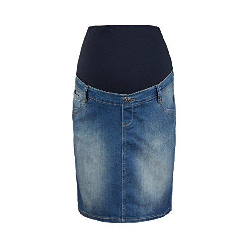 2HEARTS Umstands-Jeansrock We Love Basics/Umstandsmode Damen/Rock mit Bauchband/blau