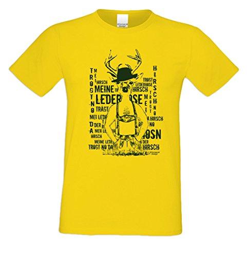 Meine Lederhose ::: Sprüche-Fun-Hirsch-T-Shirt-Herren Freizeit Volksfest Oktoberfest Tracht Party Outfit - Geschenk Männer Farbe: gelb Gelb