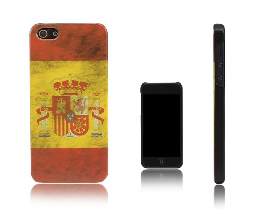 Xcessor Vintage Spagna Bandiera Custodia Rigida per Apple iPhone SE / 5S / 5. Design Sottile e Leggero. Spagna