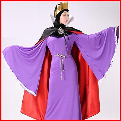 WSJDE Halloween Adult Schneewittchen und die Sieben Zwerge Damen Bad Queen Kostüm Schneewittchen Stiefmutter Kleid mit Cape Stage Kleid S Kleid mit Cape