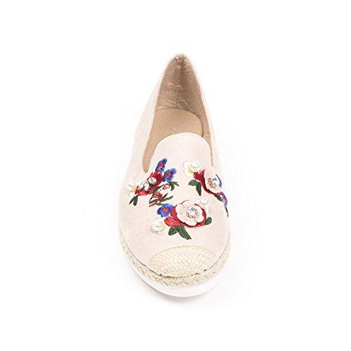 Ideal Shoes - Espadrilles effet daim avec broderie Lania Rose