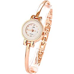 ufengke® ladies fashion small dial rose gold thin band bracelet watch, rhinestone numerals date dress watch