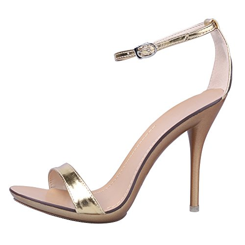 OCHENTA Sandali stiletto estivi con cinturino alla caviglia, chiusura fibbia, per donna Oro