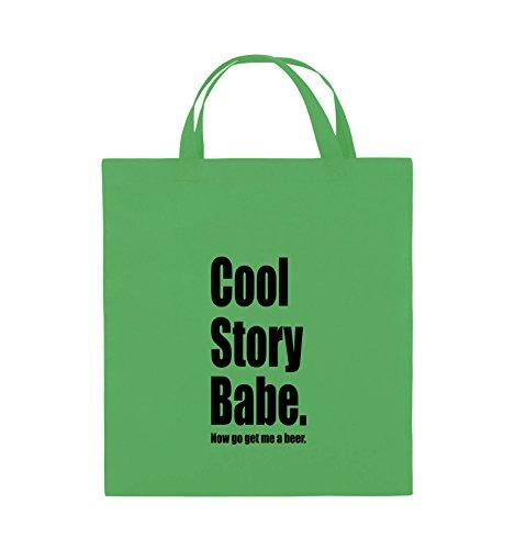 Comedy Bags - Cool Story Babe now get me a beer - Jutebeutel - kurze Henkel - 38x42cm - Farbe: Schwarz / Silber Grün / Schwarz