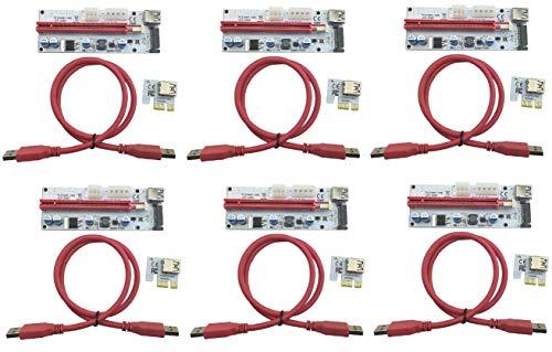 LONGXI 6 Pack PCI-E PCI Express Riser USB 3.0 Expressinterfaz