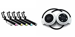 MIRZA Selfie Stick & Bluetooth Headset for INFOCUS M350(Selfie Stick,Black Selfie Stick & AUX Selfie Stick & Mini 503 Sports Headset/GYM Headset/Bluetooth Headset)
