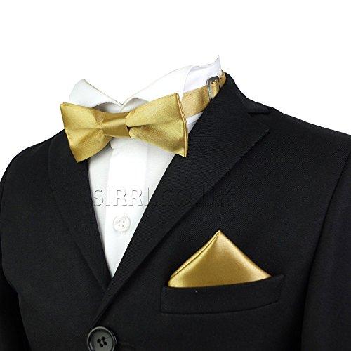 Krawatten-tasche Gold (Jungen Fliegen Ebene Satin Krawatte Set Kommt Tasche Platz Vorgebunden Einstellbar Fliegen zum Kinder)