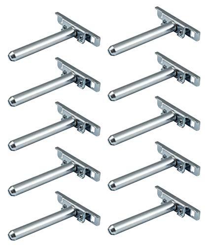 Gedotec Regalhalter verdeckt Tablarträger unsichtbar für die Wand-Montage - SUPPORT | Länge: 100 mm | Halterung Metall verzinkt | Regalträger mit Platte | 10 Stück - Regalbodenträger für Wandregale