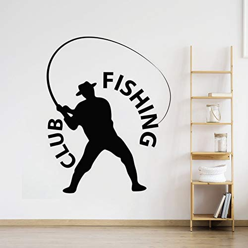 Angeln Fischer Wandaufkleber Club Angeln Logo Logo Fenster Aufkleber Wohnkultur Fisch Entspannen Aktivität Vinyl Wand Displays57 * 72 cm